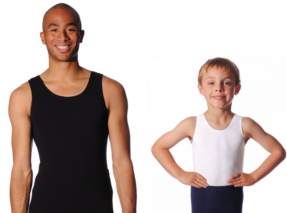 ROCH VALLEY Mens and Boys Cotton Sleeveless Dance Leotard Ballet Black White